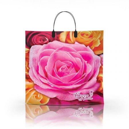 Пакет с пластиковой ручкой 36x34 Королева цветов 80мкм ламинат