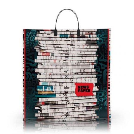 Пакет с пластиковой ручкой 40x40 Газета 80мкм ламинат